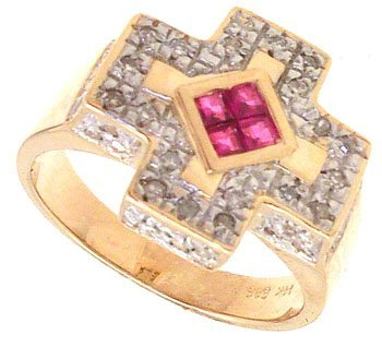 5009: 14YG .54cttw Ruby/Dia Cross Ring