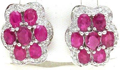 5010: 14KW 3.2cttw Ruby Diamond Flower Earring