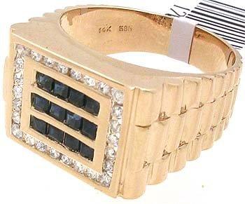 5015: 14KY .85ct sapphire princess ..38 dia Mens Band