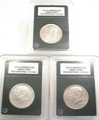 5017: 1971 Kennedy Half Dollar P.G.S. 3 Coin Collection