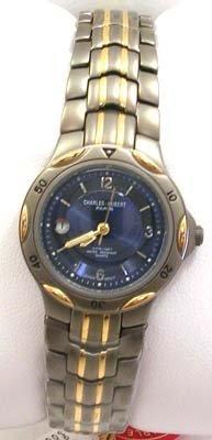 5021: Charles-Hubert 2 tone round blue dial ladies watc