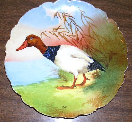 5023: Vintage Limoges Plate C & J Max Picture of Duck