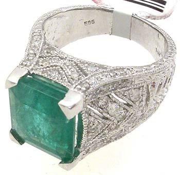 5086: 14KW 5.56ct Emerald .77 Dia Estate Crown Ring