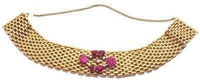 5108: 14KR Ruby dia woven bracelet 41.5gr