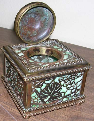 3: Tiffany Studios Grapevine Iinwell Bronze & Green Gla