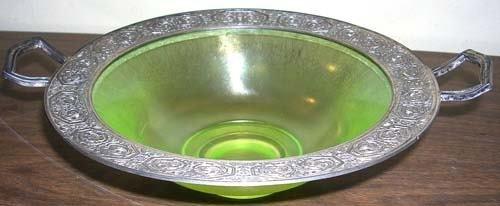 6: BERNARD RICES & SONS SIVLERPLATE MOUNTED GLASS BOWL