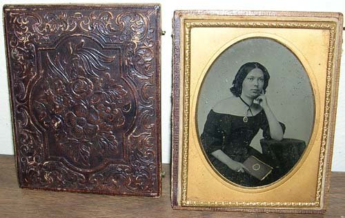 7: Ambrotype Brass Picture Framed Sitting Lady