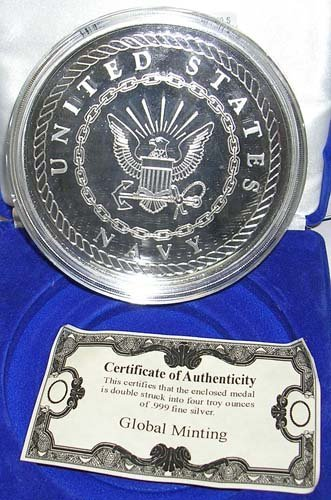 15: .999 Silver UNITED STATES NAVY 4 Ounce Coin