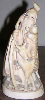 18: Ivory Carved Elder w/Baby and Deer Artist Signed
