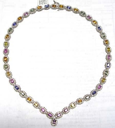 23: 14KW 23.62cttw Mix Sapphire 6.35dia necklace