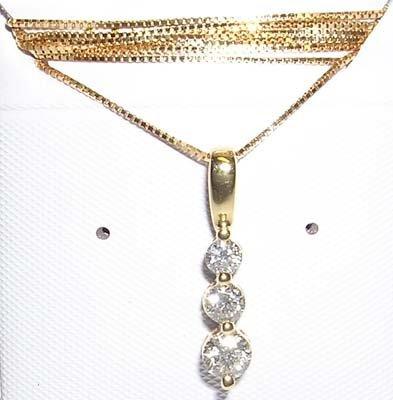 24: 14KY .50cttw Diamond Past Present Future Pendant-CE