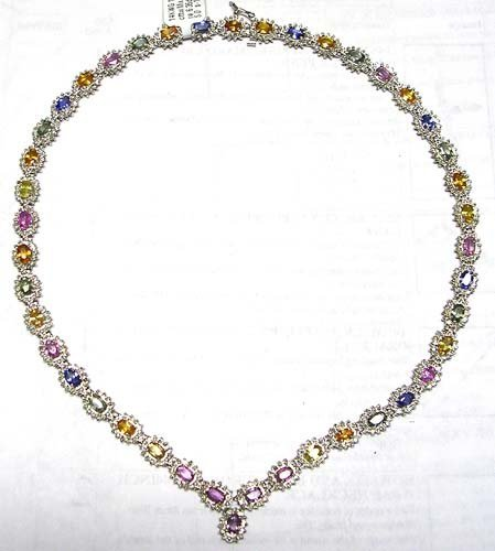 1466: 14KW 23.62cttw Mix Sapphire 6.35dia necklace