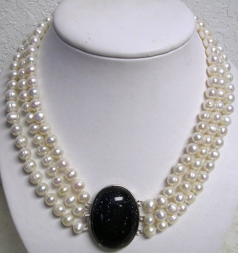 1730: 9mm 3S FW White Pearls Purple Gold Stone necklace