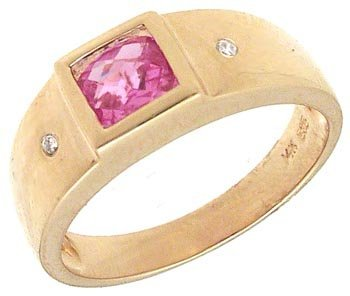 1733: 14KY .98ct Pink Sapphire Checkerboard Princess Di
