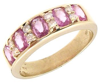 1735: 14KY 1.7ct Pink Sapp Oval .18cttw Dia Ring 650851