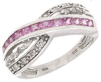 2402: 14KW 2.4ct Princess Pink Sapp .13cttw Dia ring