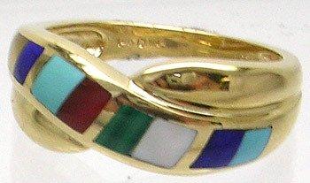 2406: 14KY 2.7ct Multi-Gem Inlay Ring
