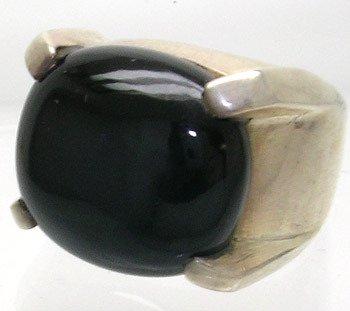 2408: SSilver Black Onyx Mans Ring