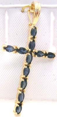 2414: 14KY 1.33ct Sapphire Marq Cross Enhancer pend