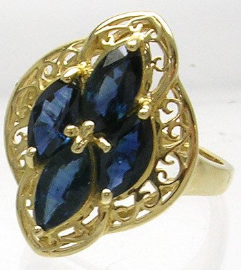 2415: 14KY 2.5cttw Blue Sapphire Marquise Filigree Ring