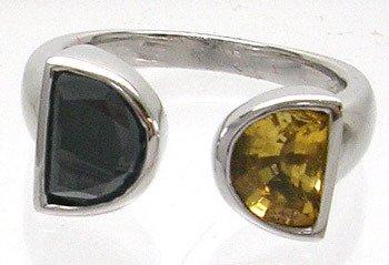 2416: 14kw 1ct Black Dia 1ct Golden Citrine Ring
