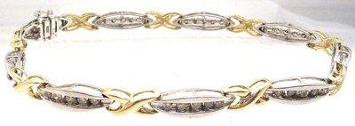 2418: 10kt .70 cttw Diamond Channel 2-tone bracelet