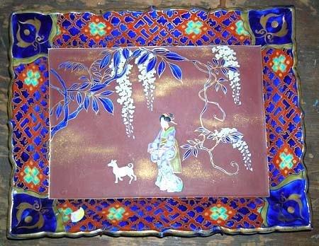 2421: Hand Painted Heirloom Porcelain Platter Artist Si