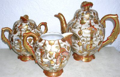 2422: Setsuma Fine Hand Painted Japanese Tea Set 3 pcs