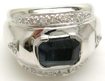 2805: 14KW 1.65ct Sapphire E-cut .16cttw Dia Ring