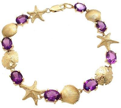2808: 14KY 9cttw Amethyst Oval Sea bracelet