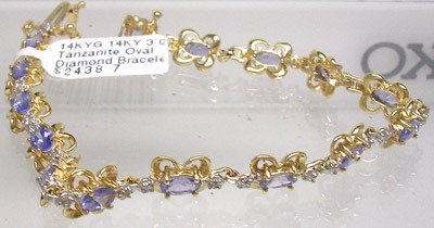 2810: 14KY 3.05 Tanzanite Oval Diamond Bracelet