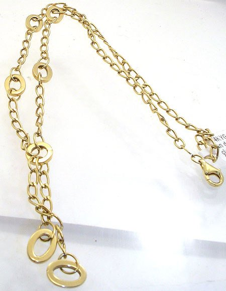2812: 14KY Italian designer circle oval dangle chain