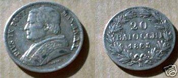 2817: ITALY 1865 VATICAN SILVER 20 BAIOCCHI POPE PIUS I