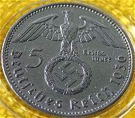 2942: 1936 silver 5 Reichsmark Coin