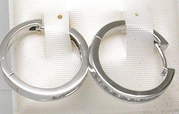 3401: 10kw .40ct Diamond Channel Hoop Earrings