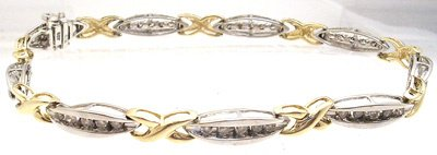 3402: 10kt .70 cttw Diamond Channel 2-tone bracelet