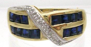 3408: 10ky .85tw Blue Sapphire Diamond Ring