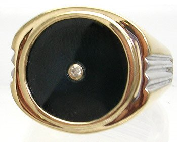 3410: 14KY Onyx Circle Diamond Mens Tri-Ribbed Ring