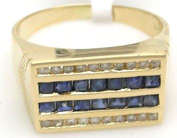 3411: 14KY 1.12ct sapphire princess .23 diamond Mens Ri