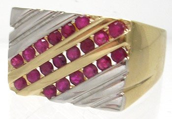 3412: 14KT/T 1.24ct Ruby Round 3 channel Row Mens