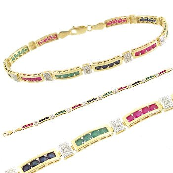 3413: 14kt sapphire emerald ruby channel Bracelet