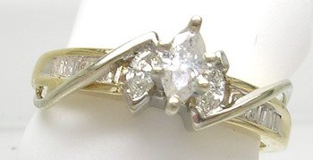 3415: 14ky 2-tone .40cttw Diamond Marquise Ring