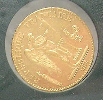 3443: 22KY 1893 French 20 Francs Gold Lucky Angel Coin