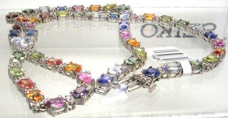 3489: 14KW 30cttw Mix Sapphire 2.10ctw dia necklace APP