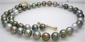 3515: 14YG 9/11mm Rainbow 43Tahitian Pearl necklace