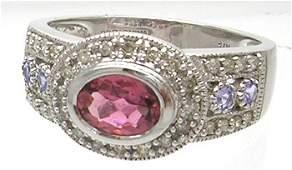 3534: 14kw 1ct Pink Sapphire Tanz .50 Diamond Ring