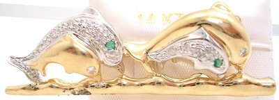 3801: 14KY Emerald Diamond Dolphin pin