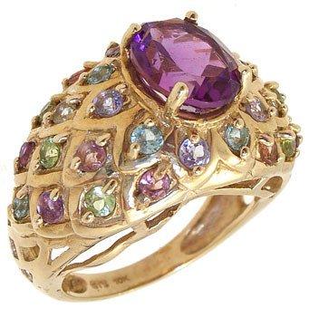 3806: 10KY 1.50cttw Amethyst multi gem band ring