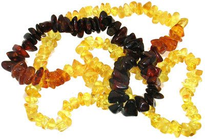 3808: Amber tri color nugget necklace 28inch