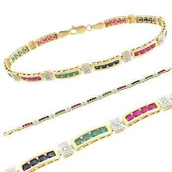 3810: 14kt sapphire emerald ruby channel Bracelet